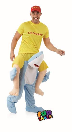 50 Carry Me Kostüm lustiges Hai Huckepack Kostüm Hai Verkleidung Tierkostüm Piggyback Ride On auf den Schultern Kostüm Faschings Karneval Halloween JGA Junggesellenabschied