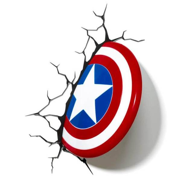 Superhelden 3D Wandleuchten – Optisch ein Highlight - Captain America Schild