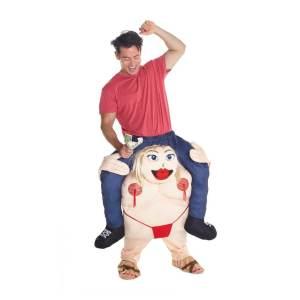 250 Carry Me Kostüm fette Stripperin Verkleidung Piggyback Ride On auf den Schultern Stangentänzerin Faschings Karneval Kostüm Halloween Junggesellenabschied DIY