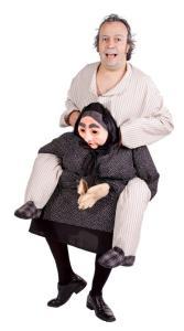 258 Carry Me Kostüm Roma Zigeuner Oma Verkleidung Piggyback Ride On auf den Schultern Grossmutter Faschings Karneval Kostüm Halloween Junggesellenabschied DIY