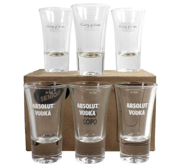 13 6 edle Premium Schnapsgläser - Edles Shotgläser-Set schlank - Absolut Vodka - Shot Becher - Tequila Gläser - Schnaps Becher - Stamperl - Pinneken - Pinnchen - Schott Glas - Gläser Set