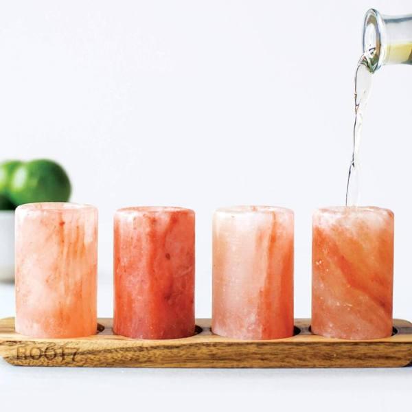 17 4 Himalayasalz Tequila Shotgläser - Rosa Himalayasalz Schnapsgläser - Schnaps Geschenkbox - Shot Becher - Tequila Gläser - Schnaps Becher - Stamperl - Pinneken - Pinnchen - Schott Glas - Gläser Set