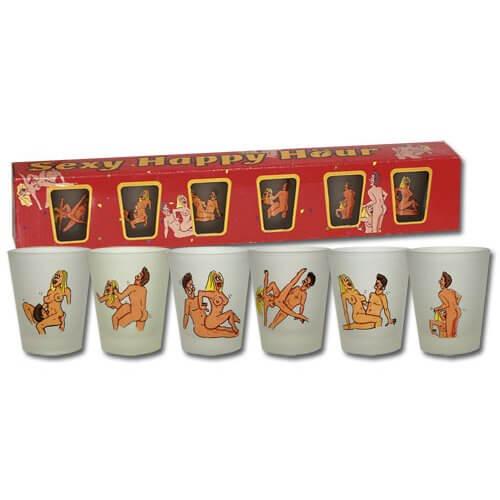22 6 versaute Schnapsgläser - lustige Trinkspiel Shotgläser - Shot Becher - Tequila Gläser - Schnaps Becher - Stamperl - Pinneken - Pinnchen - Schott Glas - Gläser Set