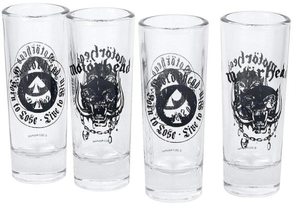 24 4 Motörhead Schnapsgläser - lizensierte Shotgläser - Lemmy - Shot Becher - Tequila Gläser - Schnaps Becher - Stamperl - Pinneken - Pinnchen - Schott Glas - Gläser Set