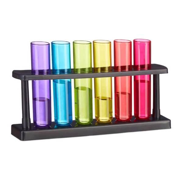 3 6 Bunte Reagenz-Schnapsgläser mit Ständer - Shotgläser im Labor Design - Hohe Shot Becher - Tequila Gläser - Schnaps Becher - Stamperl - Pinneken - Pinnchen - Schott Glas - Gläser Set