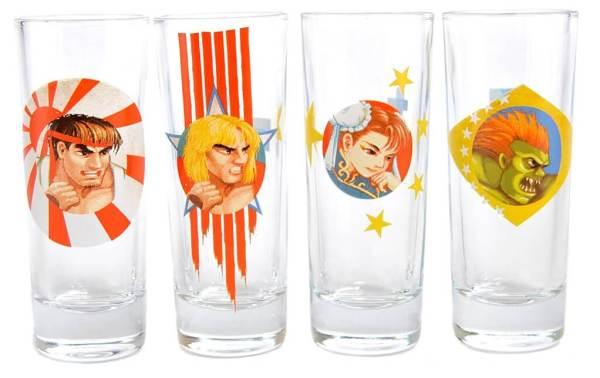 44 4 Street Fighter 2 Schnapsgläser - Capcom Retro Shotgläser - Super Nintendo Schnapsglas Set - Shot Becher - Tequila Gläser - Schnaps Becher - Stamperl - Pinneken - Pinnchen - Schott Glas - Gläser Set