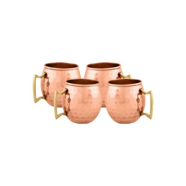8 4 Moscow Mule runde gehämmerte Schnapsgläser - Edle Kupferbecher - Moscow Mule Shot Becher - handgemachte Tequila Gläser - Schnaps Becher - Stamperl - Pinneken - Pinnchen - Schott Glas - Gläser Set