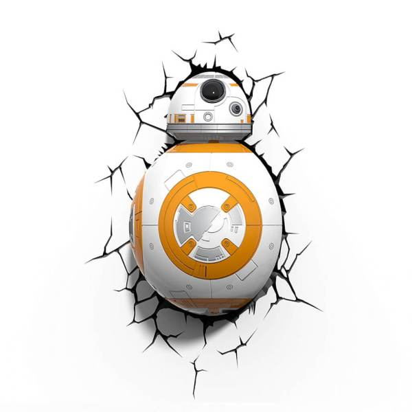 Star Wars 3D Wandlampe - BB-8 Droid - Superhelden Lampe - Wandlampe in 3D - Durch die Wand Lampe - 3D Lampe Star Wars