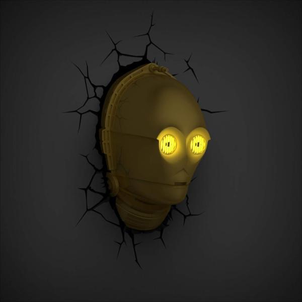 Star Wars 3D Wandlampe - C-3PO C3PO an - Superhelden Lampe - Wandlampe in 3D - Durch die Wand Lampe - 3D Lampe Star Wars