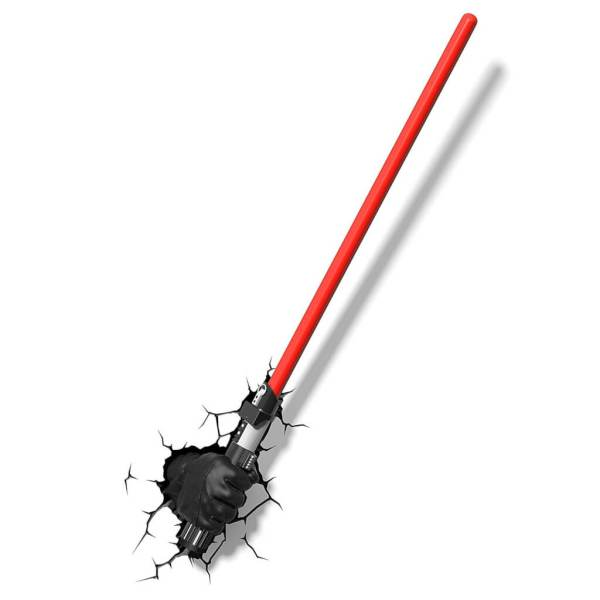 Star Wars 3D Wandlampe - Darth Vader Lichtschwert Lampe Hand Handschuh an - Superhelden Lampe - Wandlampe in 3D - Durch die Wand Lampe - 3D Lampe Star Wars