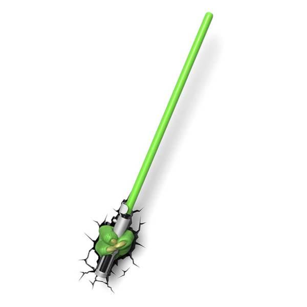 Star Wars 3D Wandlampe - Yoda Lichtschwert - Superhelden Lampe - Wandlampe in 3D - Durch die Wand Lampe - 3D Lampe Star Wars