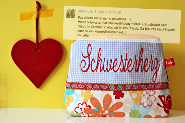 Giveaway Gewinnerin Schminktäschchen Schwesterherz waseigenes.com
