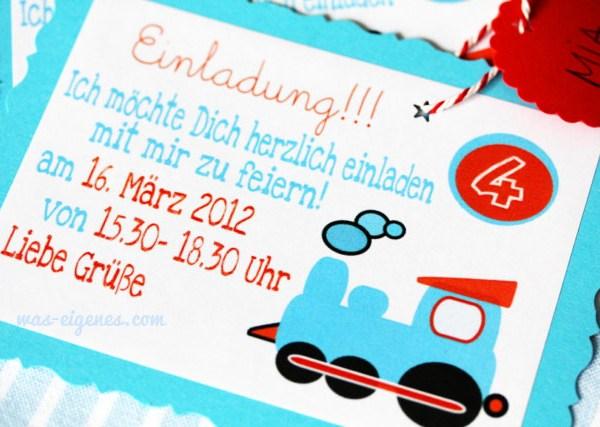 DIY Holzbesteck bestempeln   Kindegeburtstag Einladung   Jungen Geburtstag   Thomas & seine Freunde   Lokomotive   DIY waseigenes.com