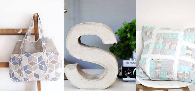 waseigenes.com Snap Pap Tasche | DIY Beton Buchstabe | Patchwork Kissen