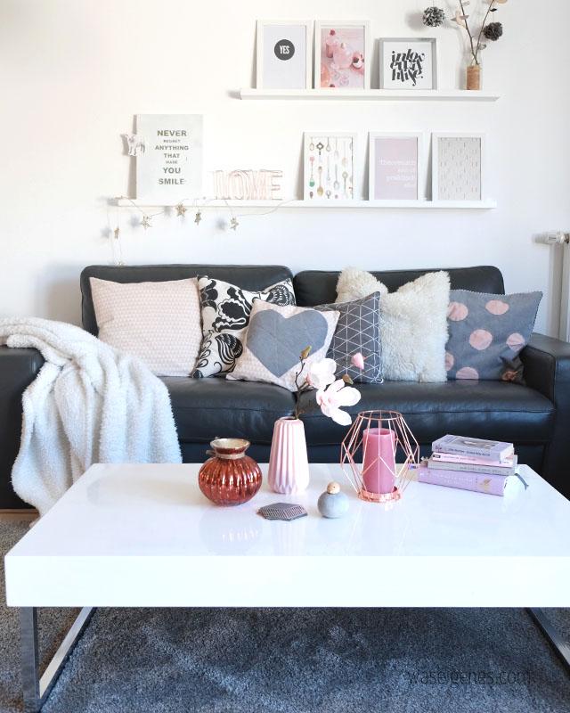 Wohnzimmer | Rosa Grau Schwarz Weiss Und Ein Bisschen Kupfer | Unser  Wohnzimmer Mit Neuen Farbtupfern