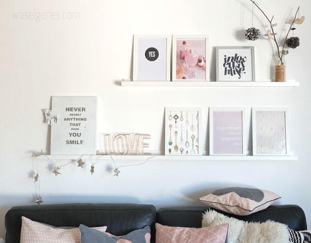 Wohnzimmer | rosa grau schwarz weiss kupfer | Einrichtung | Bilderleiste| waseigenes.com