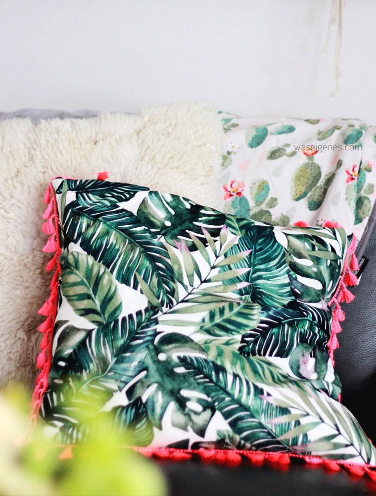 DIY Kissenbezug nähen | Palmenprint | Boho Quasten | urban jungle Stoffprint | waseigenes.com