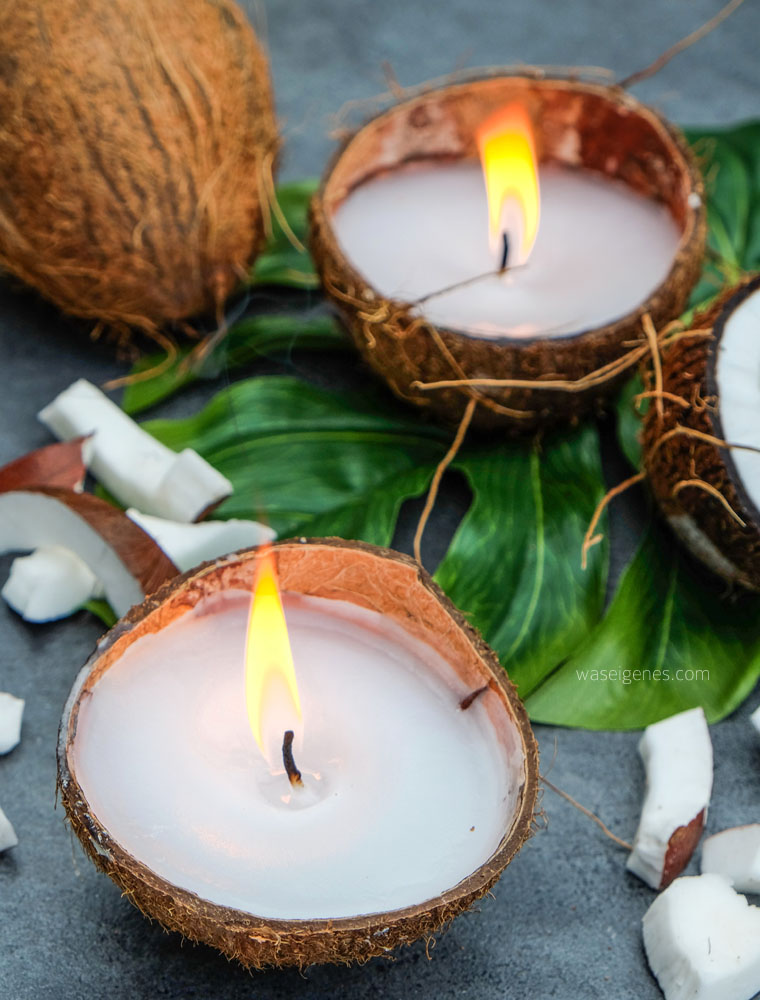 DIY Kokosnuss Kerzen | Kerzen gießen | Kerzen selber machen | Der Kuss der Kokosnuss | waseigenes.com