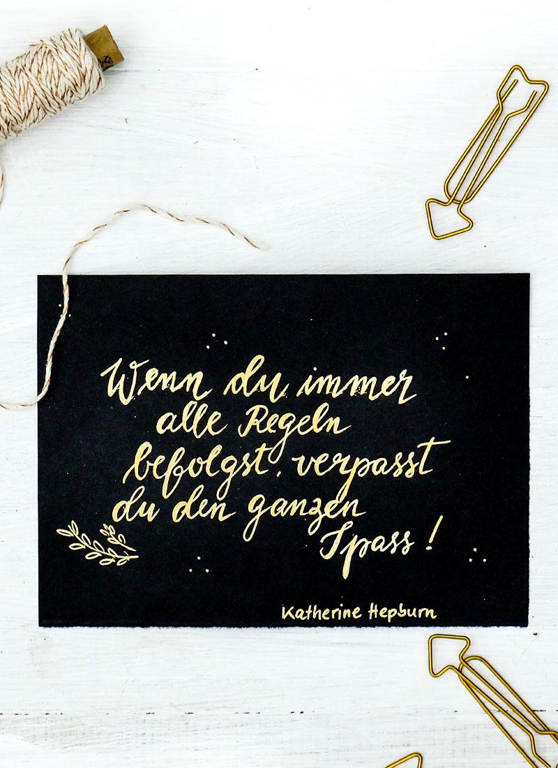 Adventskalender der guten Gedanken Nr. 1 | Wenn du immer alle Regeln befolgst, verpasst du den ganzen Spass | Katherine Hepburn | waseigenes.com