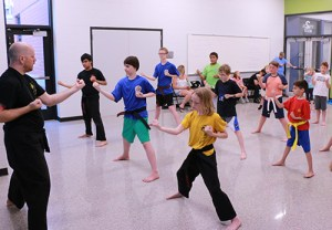 kids in an Open Hand karate class Cedar Rapids