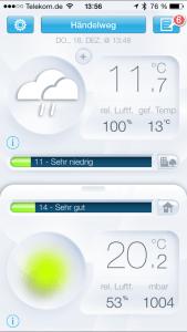 Blick in die App der Netatmo Wetterstation