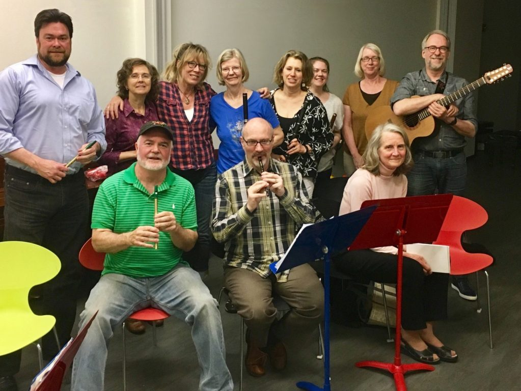 Students and teachers of Irish Flute and Tin Whistle Class