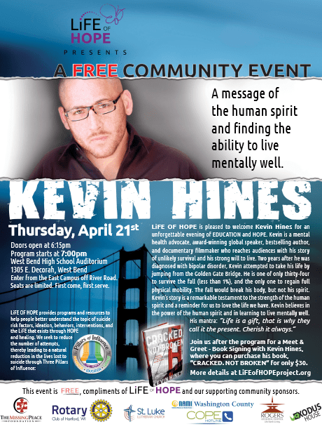 Kevin Hines - LiFE OF HOPE 4.21.16 Event