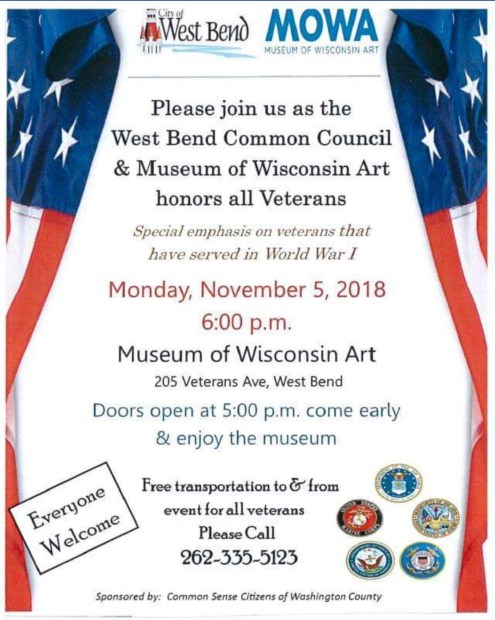 Poster highlighting Veterans event on Nov. 5, 2018 at the Museum of Wisconsin Art in West Bend