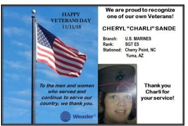 Cheryl served in the military