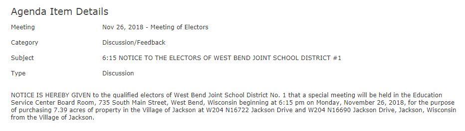 WBSB meeting on Monday, Nov. 26