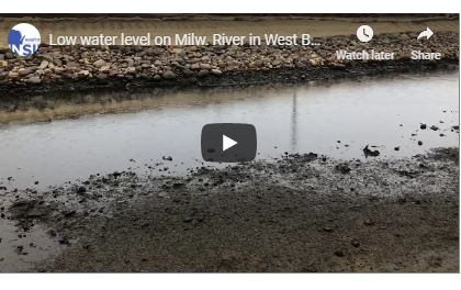 Low water level in Milwaukee River