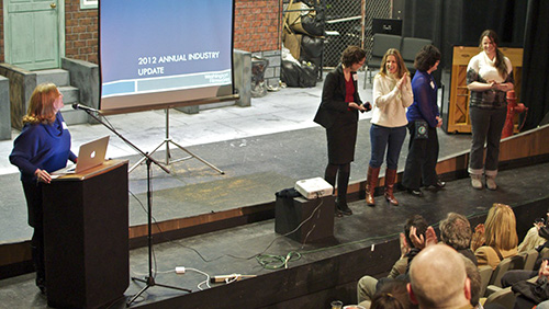 Executive Director, Amy Lillard, and Filmworks staff: Julie Daman, Krys Karns, Cris Walters and Jessie Wilson.