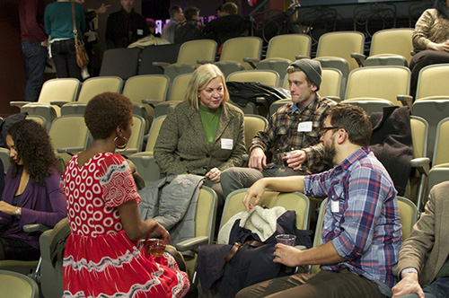 Washington Filmworks Board Member, Becky Bogard, chats with Lab Finalists.