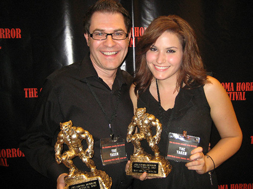 Jessica and Richard Valentine screening their film The Taken at the Oklahoma Horror Film Festival.