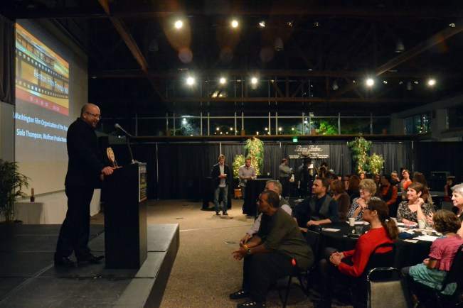 Jason Dittmer accepts the Washington Film Organization of the Year Award on behalf of the Seattle International Film Festival (SIFF). Photo credit: Kelly Balcomb-Bartok.