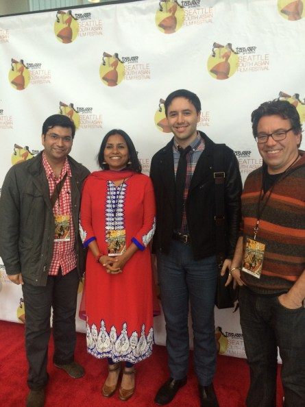 Marketing Director Gangwani with Festival Director Rita Meher, Washington Filmworks Communications Coordinator Andrew Espe, and Moderator Etheredge