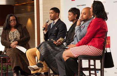 Wells Fargo Senior Vice President, Director of Strategic Partnerships, Georgette Dixon facilitated a panel discussion with (L to R) Fonzworth Bentley, Tai Beauchamp, Amir Windom and Tonya Rivens during the UNCF Empower Me Tour during the Charlotte tour stop.