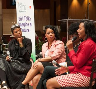 From L to R: Tai Beauchamp, Tish Norman, Janine Davis and Tonya Rivens engaged attendees with a candid conversation: Girl Talk: Image a Future during the UNCF Empower Me Tour presented by Wells Fargo in Charlotte, NC.