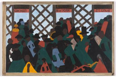 """This photo provided by the Museum of Modern Art courtesy of The Phillips Collection, Washington D.C., shows a panel of The Great Migration series by African-American artist Jacob Lawrence titled """"During the World War there was a great migration North by Southern Negroes,"""" included in the """"One-Way Ticket"""" exhibition running through Sept. 7 at the Museum of Modern Art in New York. It is one of 60 narrative paintings that are the centerpiece of the exhibit. Lawrence was only 23 when he completed the series in 1941. The small paintings depict various scenes of the multi-decade mass exodus of blacks who headed North from the rural South in search of economic opportunity and social equality. (Museum of Modern Art courtesy The Phillips Collection, Washington D.C. via AP)"""
