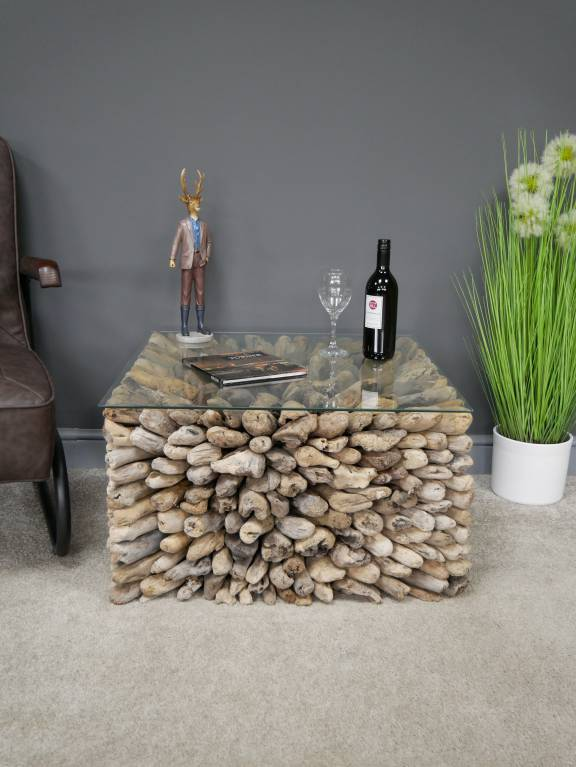 reclaimed driftwood coffee table with glass top