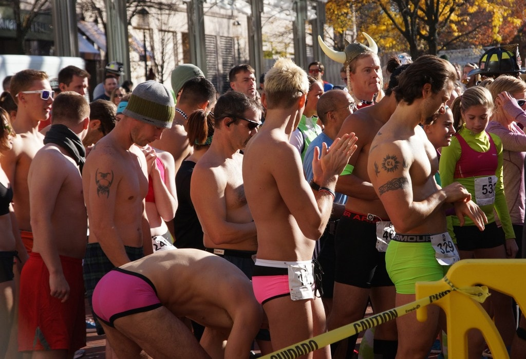 The open division of the Nearly Naked Mile prepares to start. (Kevin Ambrose)