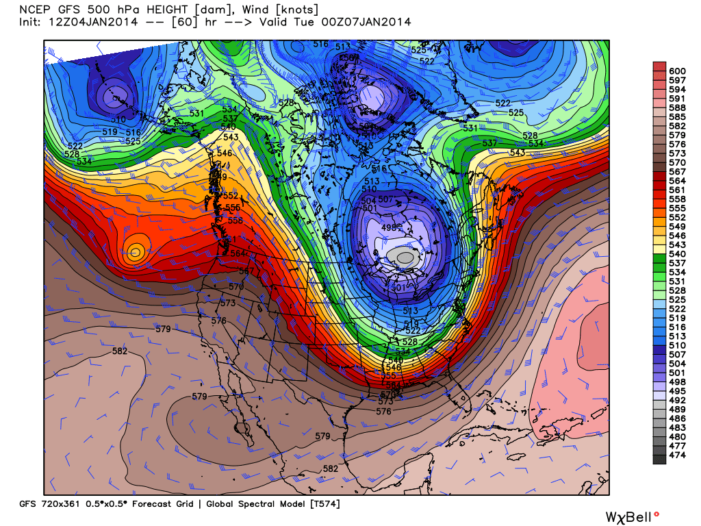 GFS model shows polar vortex over northern U.S. and southern Canada this evening (WeatherBell.com)