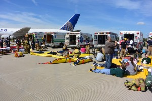 """""""Patient"""" rescues during the Dulles emergency exercise in May. Photo courtesy of MWAA."""