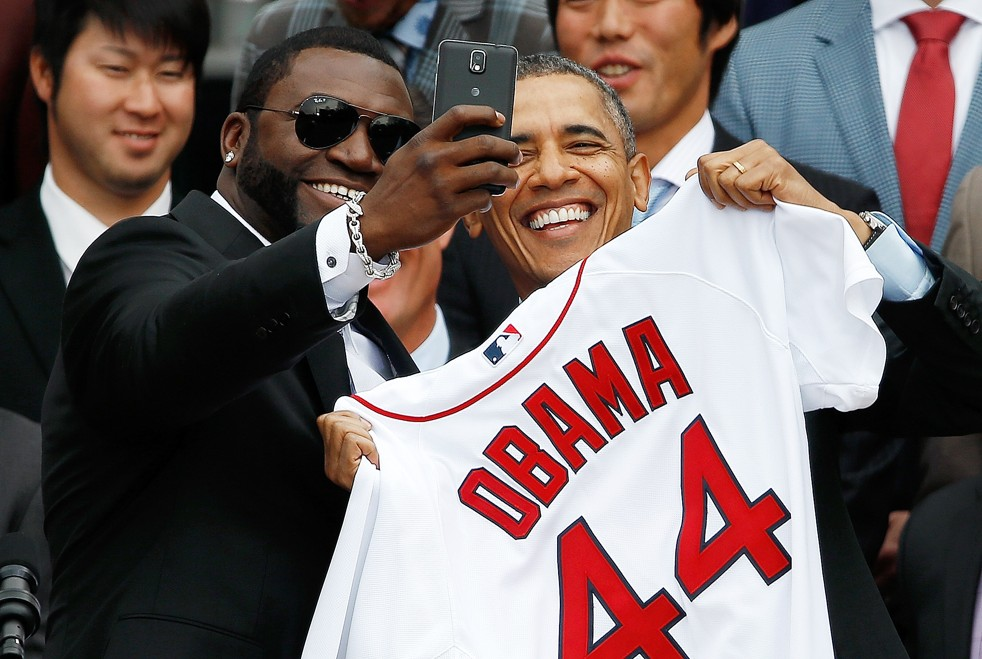 It was selfie time for David Ortiz and President Obama. (Will Mcnamee / Getty Images)