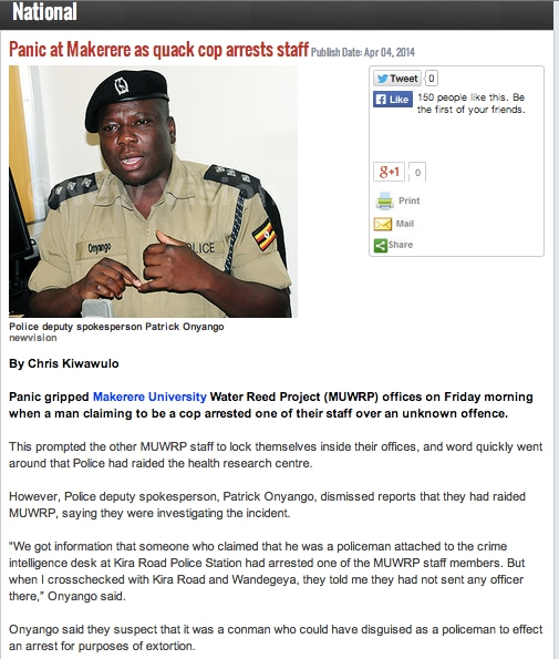 "Screenshot of New Vision article taken from <a href=""http://webcache.googleusercontent.com/search?q=cache:http://www.newvision.co.ug/news/654211-panic-at-makerere-as-quack-cop-arrests-staff.html"">Google Cache</a> on April 7, 2014 (Melina Platas Izama and Kim Yi Dionne/The Monkey Cage)"