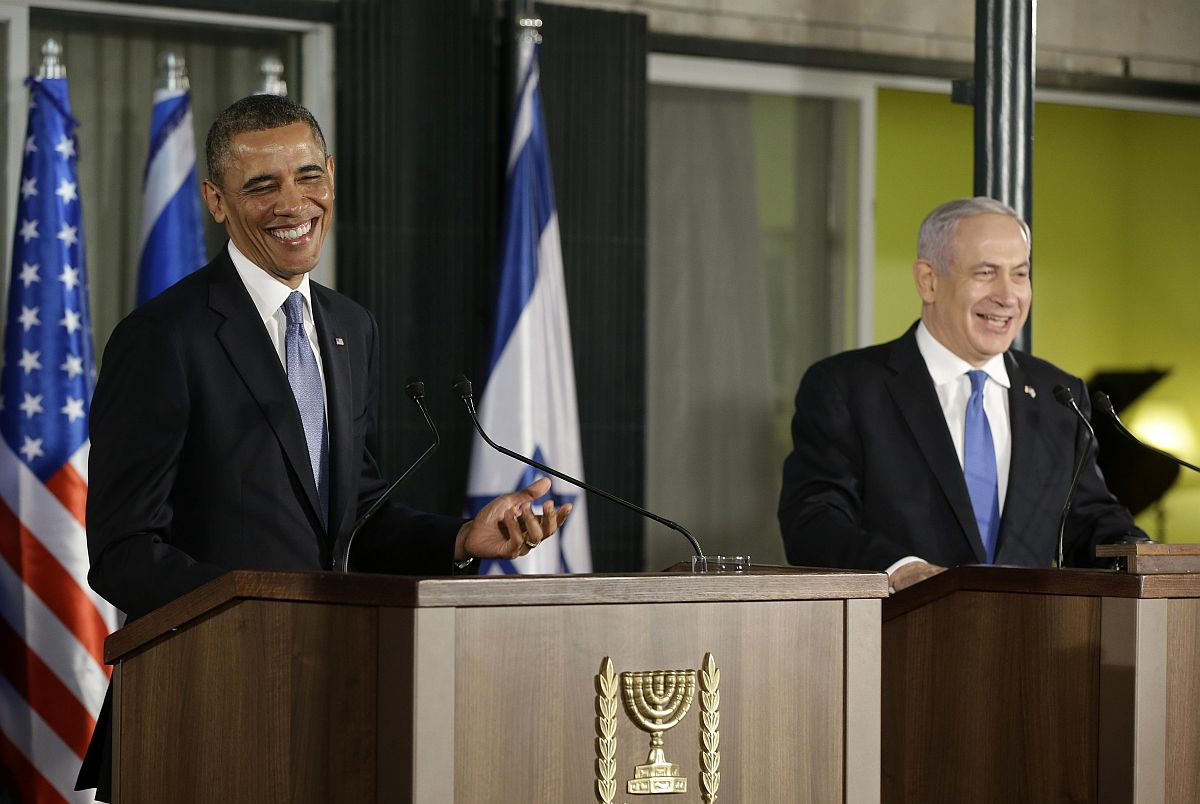 President Barack Obama and Israeli Prime Minister Benjamin Netanyahu during a news conference Wednesday. (Pablo Martinez Monsivais/Associated Press)