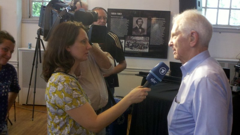Daniel Ellsberg speaks to reporters about the Manning case on June 2, 2013. (Timothy B. Lee / Washington Post)