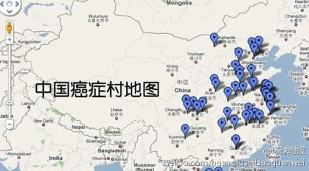 Locations of communities where cancer rates have spiked recently. (Global Times via Weibo)