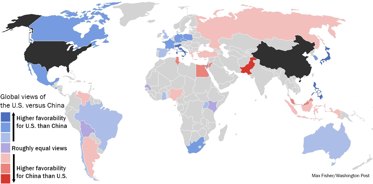 Blue countries view the U.S. more favorably than they do China; red countries are the reverse. Data source: Pew (Max Fisher/The Washington Post)