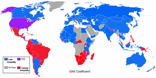Click to enlarge. Blue countries are more equal than the U.S., red countries are more unequal. (Max Fisher)